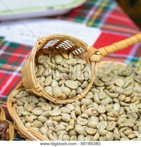 Natural Coffee Seeds In Basket