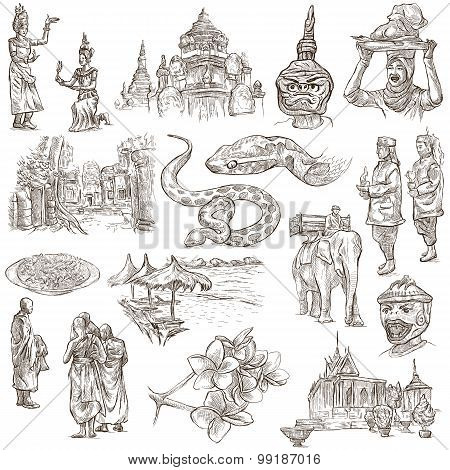 Cambodia - An Hand Drawn Illustrations. Frehand Pack.