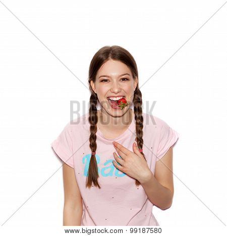 Smiling Woman With Bright Makeup And Pigtails