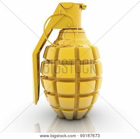 Golden Hand grenade on white background