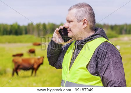 Farmer talking on cell phone near cows at pasture