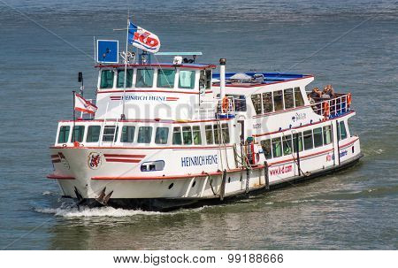 DUSSELDORF, GERMANY - JULY, 2015: Cruise vessel of the Cologne Dusseldorfer line on river Rhine.