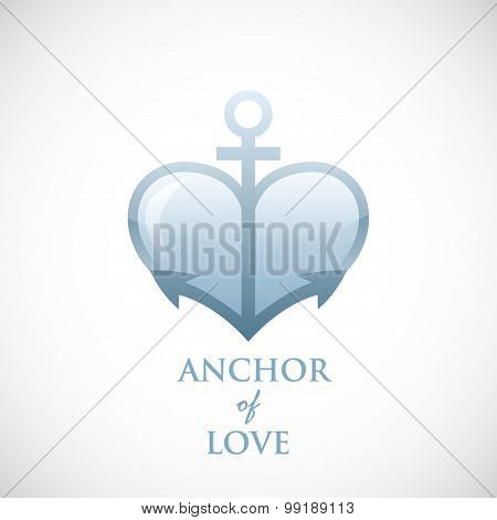 Anchor symbol of love vector blue icon