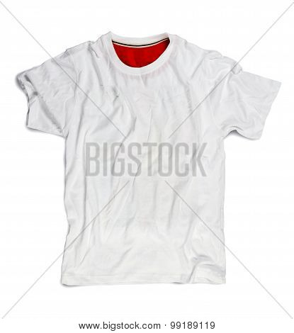 White Blank T-shirt For Mockup Isolated On White