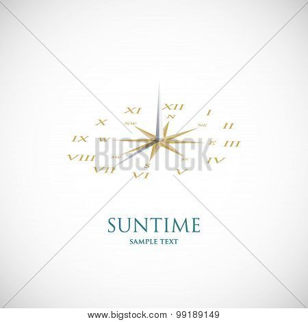 Sundial with wind rose. Vector symbol icon