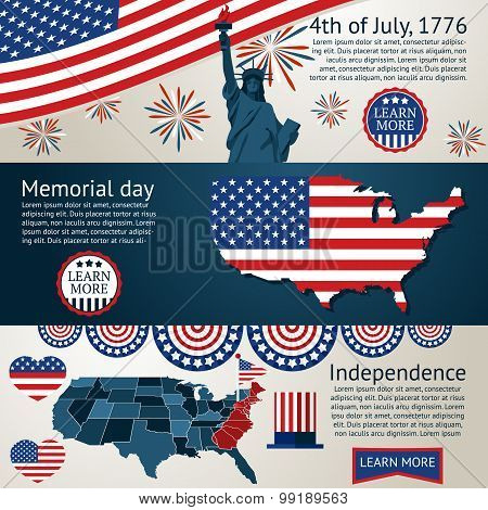 Set - 4th of July banners. Vector