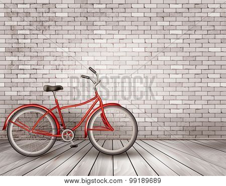 Bicycle in front of a grey brick wall. Vector.