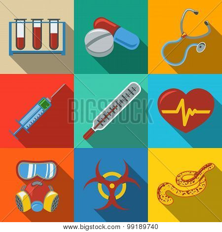 Medicine and health care colorful flat icons set with long shadows on bright plates - stethoscope, h