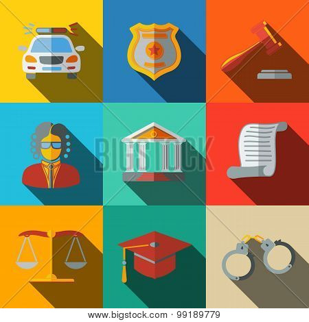 Law, justice flat icons set - scales, hammer, court house, judge, badge, handcuffs, lawyer cap, poli