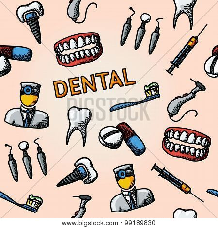 Dental handdrawn pattern with - tooth, jaw, toothbrush, dentist tools, doctor, prosthesis, drill, pi