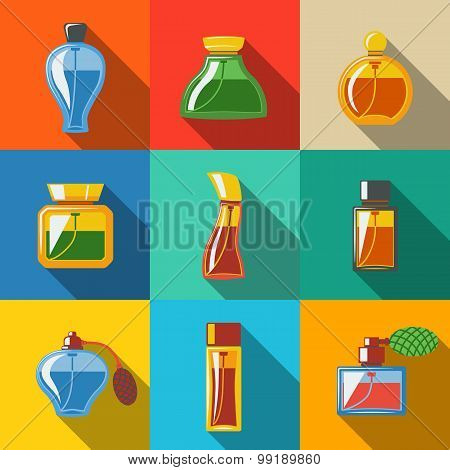 Perfume flat icons set, different shapes of bottles. vector