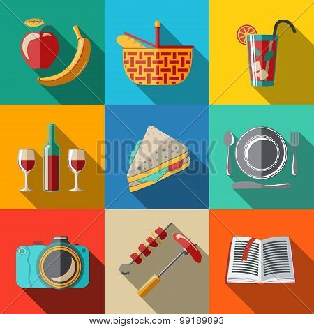 Flat icons set, picnic - basket, plate, spoon, sandwich, photo camera, wine, glass with cocktail, ap