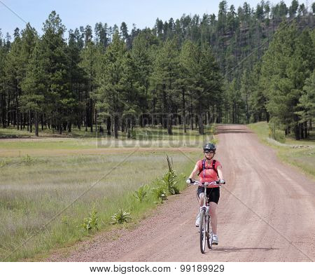 A Woman Cyclist Rides A Forest Road