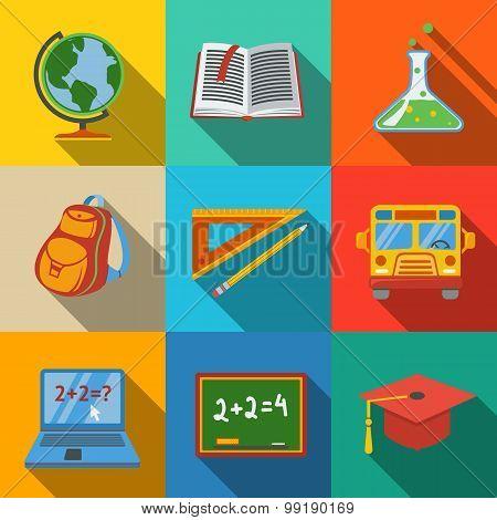 School, education modern flat icons set - globe, notebook, blackboard, backpack, text book, graduati