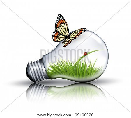 Eco light bulb with grass, a ladybug and a butterfly. Vector.