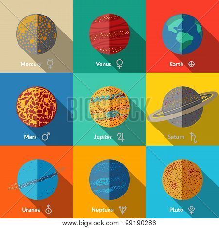 Flat icons set, planets with names and astronomical symbols - mercury, venus, earth, mars, jupiter,