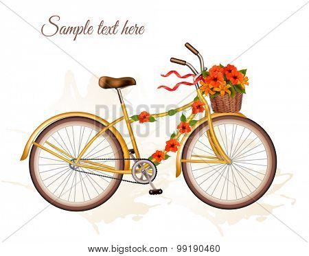 Autumn bicycle with orange flowers. Vector.