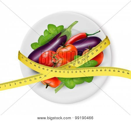 Vegetables on a plate with measuring tape. Dieting concept. Vector.