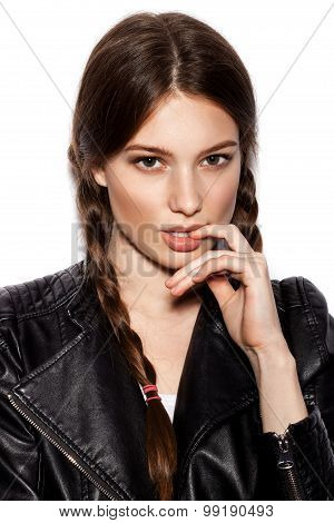 Hair Braid. Woman With Healthy Long Brown Hair