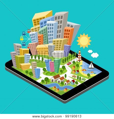 3D Isometric City With The Specified Destination Point On The Tablet Screen.