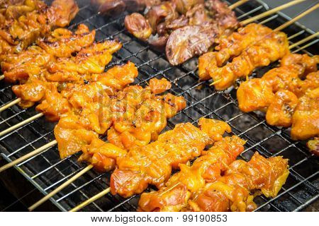 Grill Chicken Barbeque On Fire