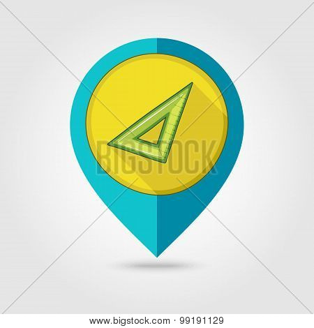 Triangle Ruler Flat Mapping Pin Icon