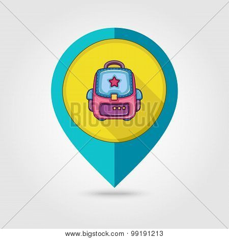 School Backpack Flat Mapping Pin Icon
