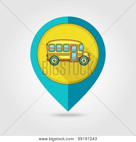 School Bus Flat Mapping Pin Icon