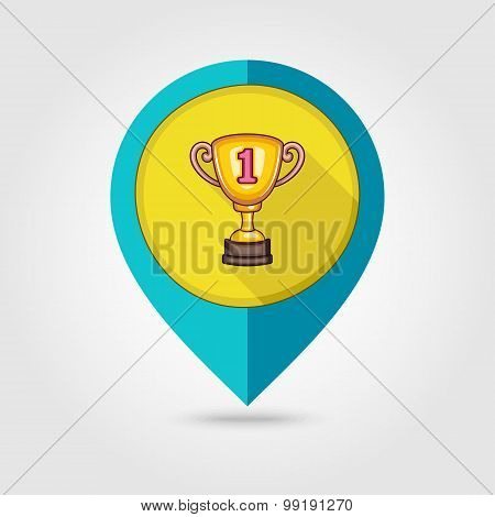 Winner Cup Flat Mapping Pin Icon
