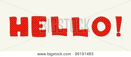 Hello letters knitted card vector illustration