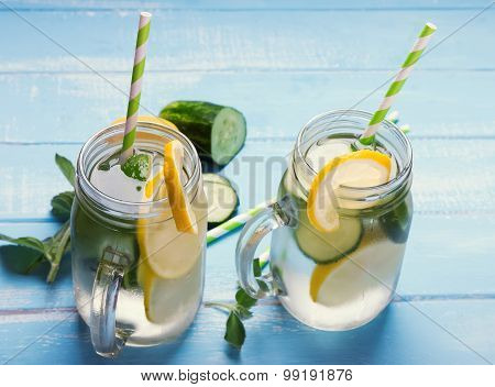 Lemon Cucumber Detox Water In Glass Jars