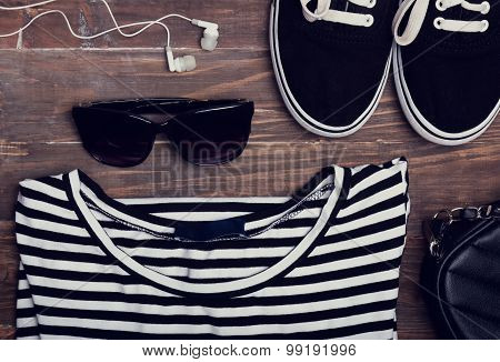 Outfit For Modern Girl On Wooden Background