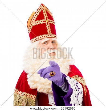 Sinterklaas with pointing finger. isolated on white background. Dutch character of Santa Claus