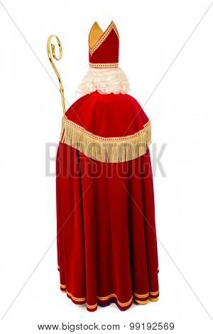 Sinterklaas .Shot of behind.Full length. isolated on white background. Dutch character of Santa Claus
