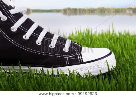 Sneakers On The River Bank In Green Grass