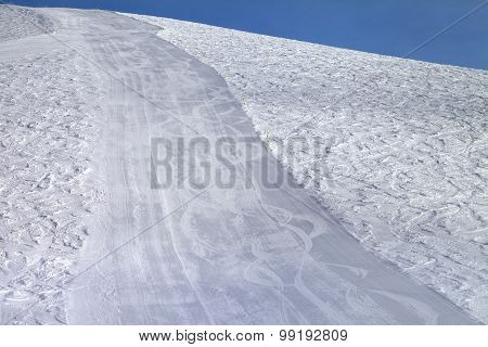 Ski Slope At Sun Evening