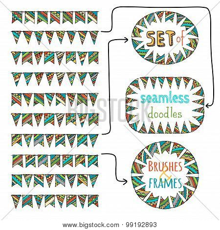 Vector Set Of Seamless Bunting Brushes And Frames From Them.