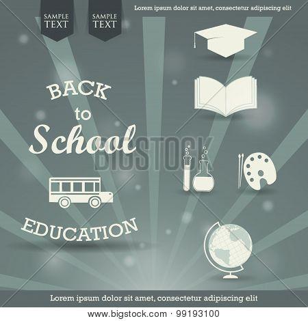 Back to school - vector retro design background