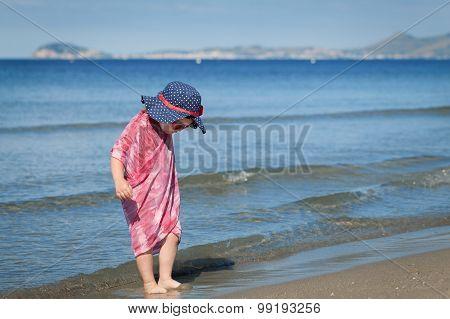 Happy Girl In Hat And Sunglasses, Walking Near Sea