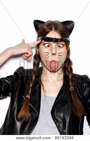 Funny Woman Represents As Small Cat Having Fun
