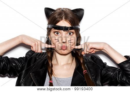 Funny Girl Represents As Small Cat Having Fun