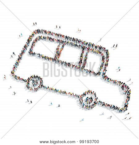 group  people  shape  bus cartoon