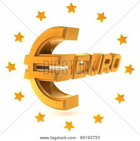 Gold emblem euro isolated on a white background with stars around