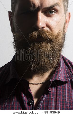 Isolated On White Unshaven Man