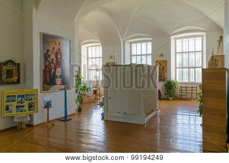 Large Cylindrical Container For Holy Water Into The Interior Of The Orthodox Christian Church