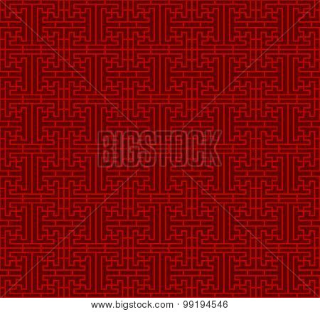 Seamless Chinese square line geometry lattice window tracery pattern background.