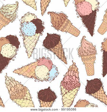 Seamless Ice-cream Pattern.