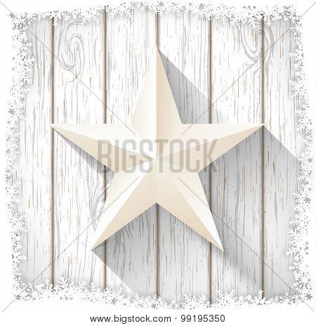white star on  wood, winter motive, illustration