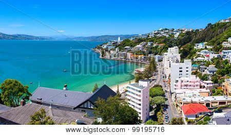 Panoramic view of the Oriental Bay. Wellington city New Zealand.