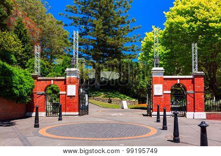 Main entrance gates to the Wellington Botanic Garden. Wellington city